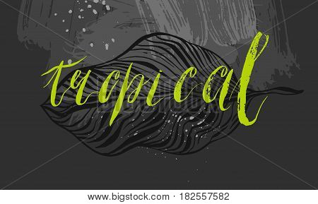 Hand drawn vector abstract textured template card with graphic ink palm leafs and handwritten green lettering phase tropical isolated on black chalkboard background.