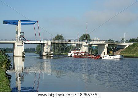 Koostertiille,Friesland june 2015 : Drawbridge over colonels deep at Kootstertille