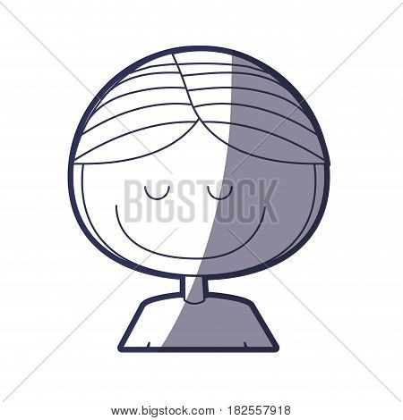 blue color contour caricature half body male with eyes closed vector illustration