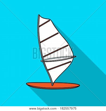 Windsurf board icon in flate design isolated on white background. Surfing symbol stock vector illustration.