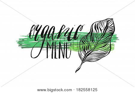 Label with vegetarian and raw food diet designs.Organic menu lettering phase.Organic food and element for meal and drinkcafe restaurants and organic products packaging.Vector illustrated bio detox logo.