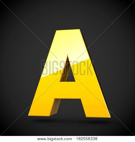 Glossy Yellow Paint Letter A Uppercase With Softbox Reflection