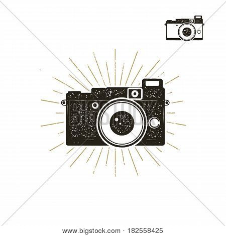 Hand drawn vintage camera label with sunbursts. Old style camera icon isolated on white background. Good for tee shirt, clothing prints, mugs, travel pennant designs. Stock vector