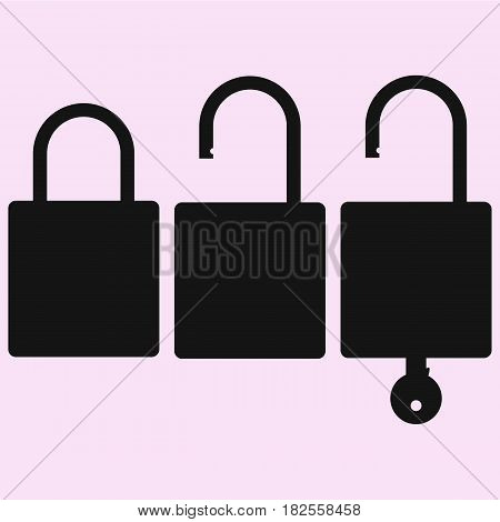 open and closed lock vector silhouette isolated