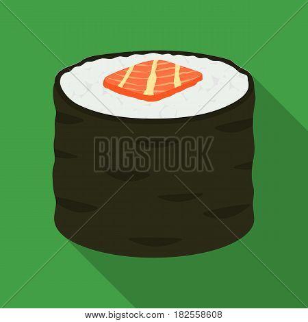 Norimaki icon in flate style isolated on white background. Sushi symbol stock vector illustration.