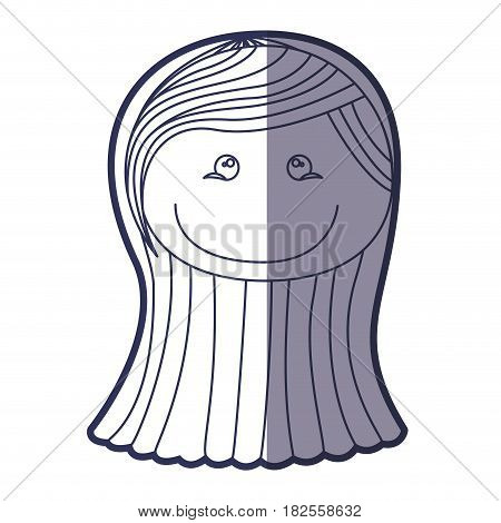 blue color contour caricature front face girl with long straight hair vector illustration