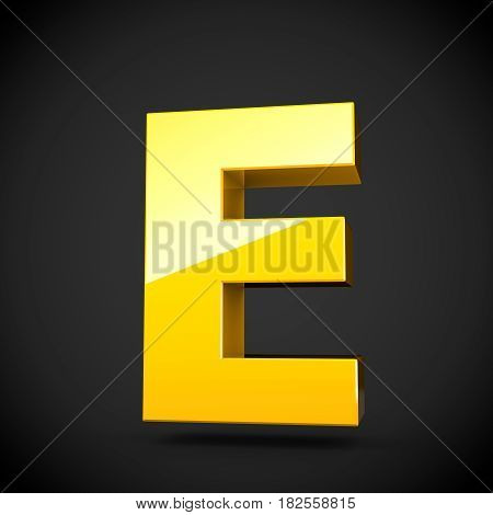 Glossy Yellow Paint Letter E Uppercase With Softbox Reflection