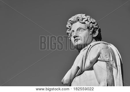 Ancient roman statue of Dioskouri at the top of Capitoline Hill in Rome made in the 1st century BC (Black and White with copy space)