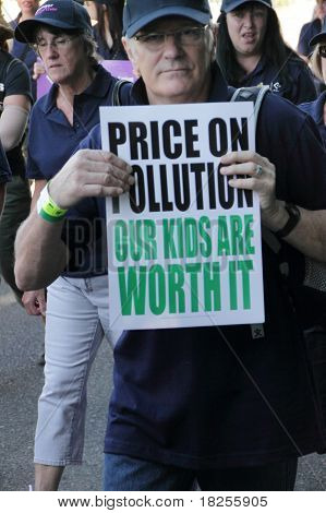 Brisbane, Australia - May 2 : Labour Day Street March Protesting Climate Change And A Call For Carbo