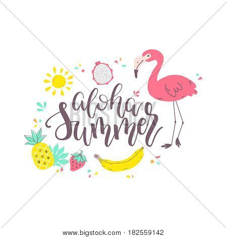 Summer Design Sticker With Tropical Beach Elements
