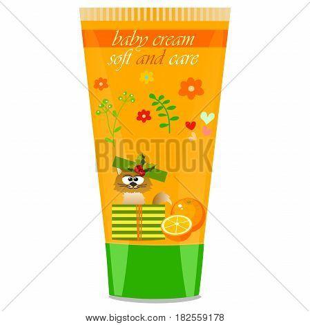 High quality original trendy vector Baby cream tube with kids design and cat, orange illustration