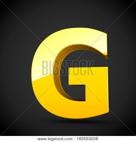 Glossy Yellow Paint Letter G Uppercase With Softbox Reflection