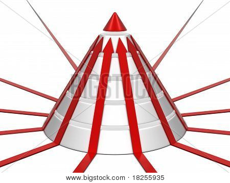 Cone chart with red arrows