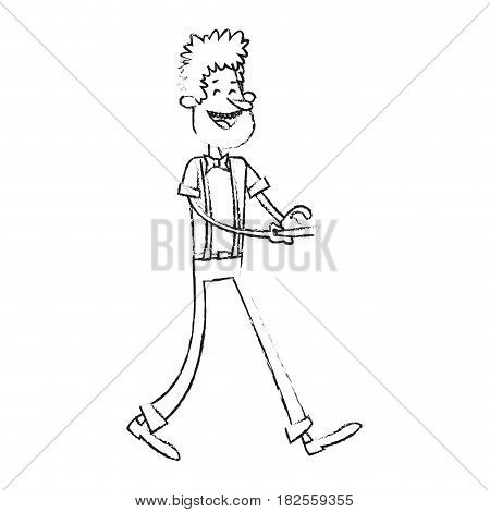 laughing man holding cellphone wearing hipster outfit  cartoon icon image vector illustration design