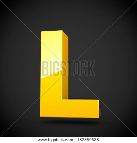 Glossy Yellow Paint Letter L Uppercase With Softbox Reflection