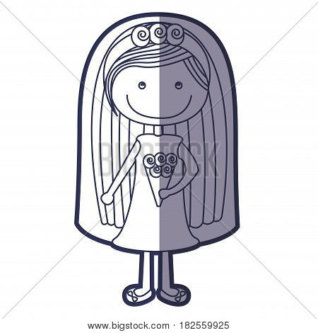 blue color contour caricature woman in wedding dress with straight hair vector illustration