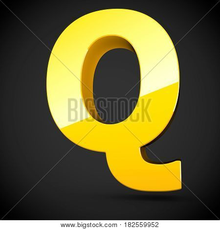 Glossy Yellow Paint Letter Q Uppercase With Softbox Reflection