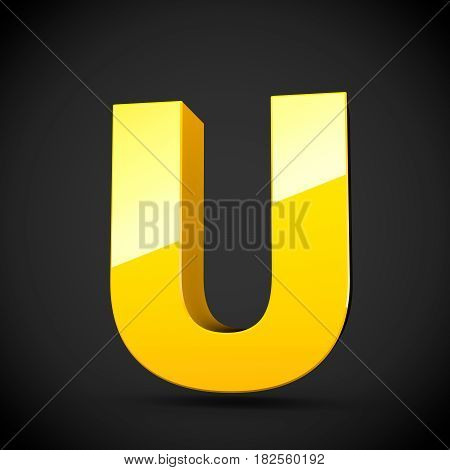Glossy Yellow Paint Letter U Uppercase With Softbox Reflection
