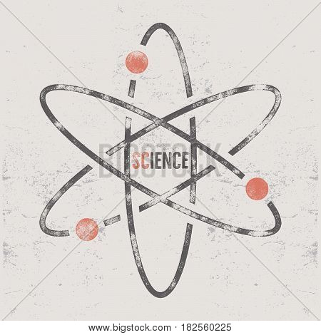 Vintage science poster and background with typography elements. Science background theme. Retro colors style. Vector illustration of science background or old style poster.