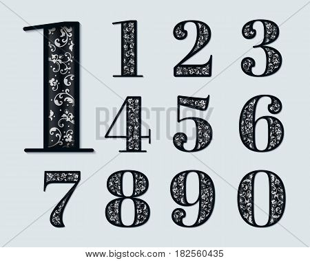 Vector numbers with elegant floral ornaments inside. Exquisite ornamental numbers with shadows and highlights and embossed inner elements. Floral typography.