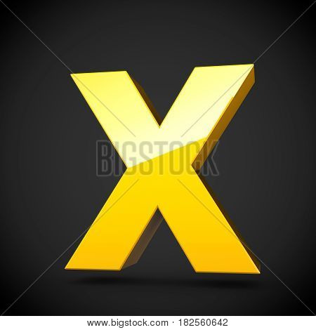 Glossy Yellow Paint Letter X Uppercase With Softbox Reflection