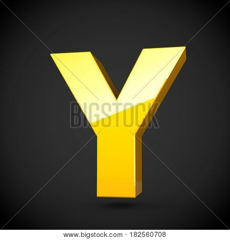 Glossy Yellow Paint Letter Y Uppercase With Softbox Reflection