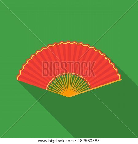 Folding fan icon in flate style isolated on white background. Theater symbol vector illustration