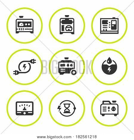 Set round icons of electrical generator isolated on white. Vector illustration