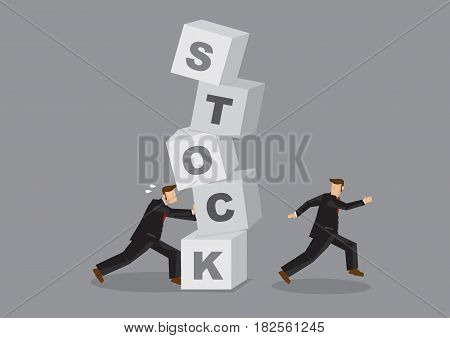 Cartoon business professional pushing a stack of alphabet blocks with letters forming word Stock. Creative cartoon vector illustration on metaphor for stock market crash isolated on grey background.
