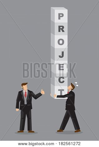 Business professional carries stack of letter blocks that form text Project and deliver to manager with thumbs up gesture. Creative vector illustration on concept for good project management.