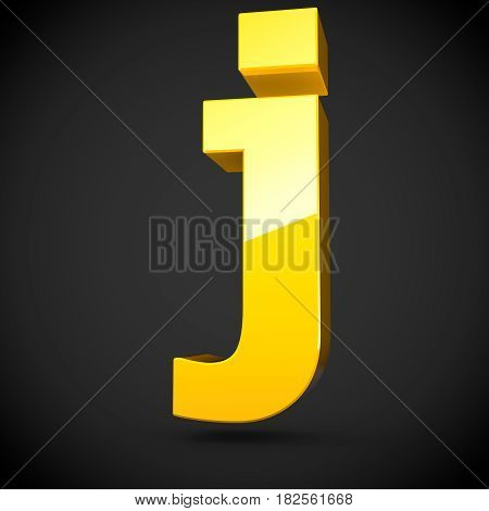 Glossy Yellow Paint Letter J Lowercase With Softbox Reflection