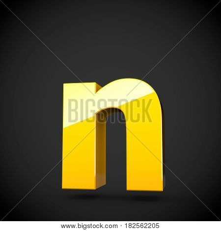 Glossy Yellow Paint Letter N Lowercase With Softbox Reflection