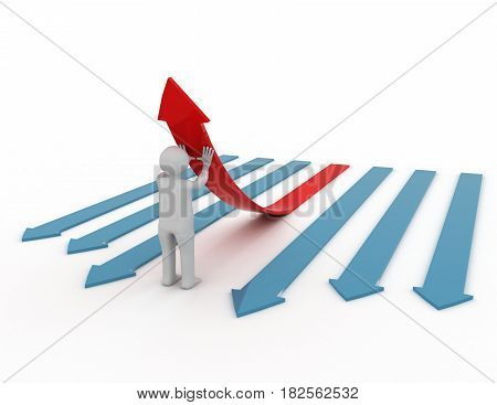 3d illustration of person pushing up one red arrow. . rendered illustration