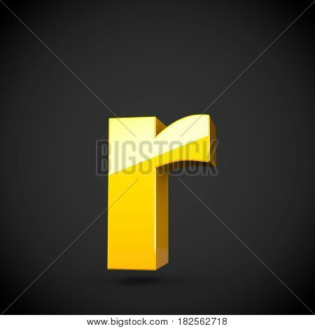 Glossy Yellow Paint Letter R Lowercase With Softbox Reflection