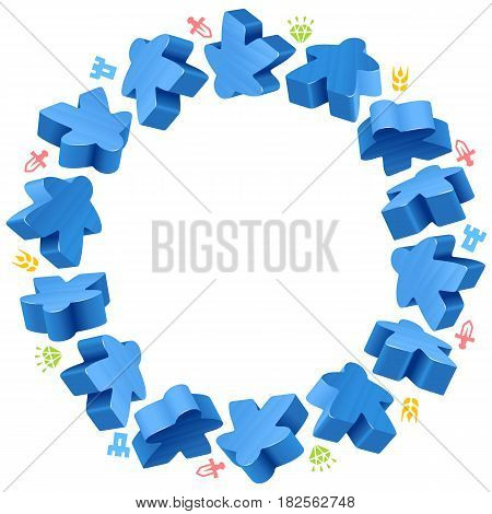 Circle frame of blue meeples for board games. Game pieces and resources counter icons isolated on white background. Vector border for design boardgames advertisement or template of geek t-shirt print