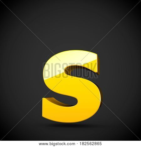 Glossy Yellow Paint Letter S Lowercase With Softbox Reflection