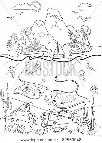 Underwater world with fish, plants, island and caravel coloring for children cartoon vector illustration. Zentangle style. Black and white