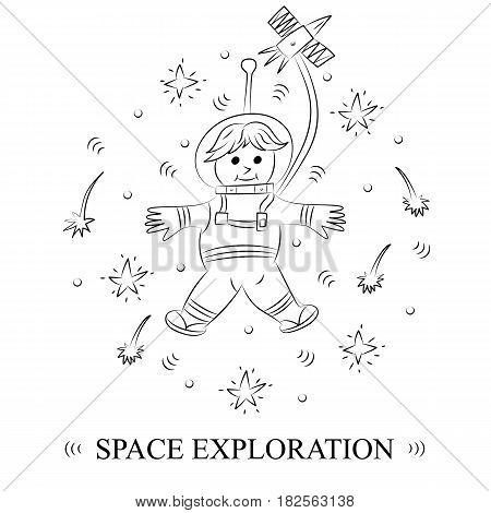 Space Exploration. Hand Drawn Doodle Astronaut and Comets Arranged in a Circle. Sketch Style. Vector Illustration.