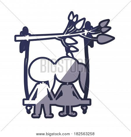blue color contour caricature male and female sit in swing hanging from a branch vector illustration