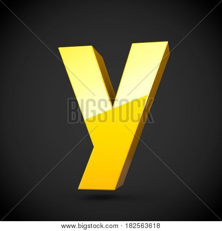 Glossy Yellow Paint Letter Y Lowercase With Softbox Reflection