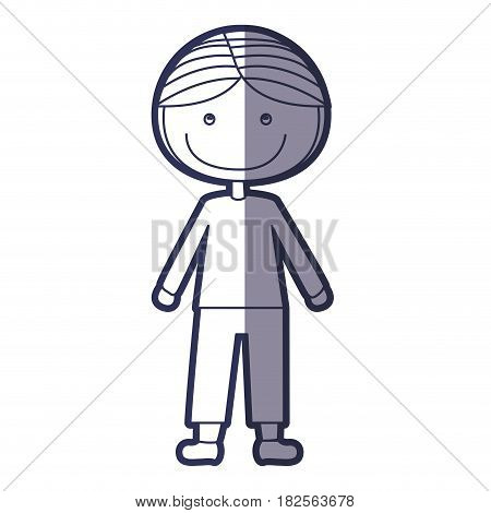 blue color contour caricature boy with coat and shorts vector illustration