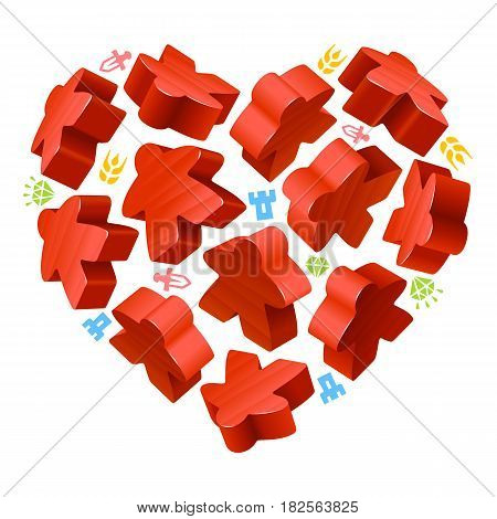 Vector game pieces in the shape of heart. Red wooden meeples, and resources counter icons isolated on white background. Concept of love by board games