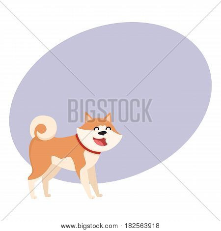 Cute smiling Akita Inu dog character, cartoon vector illustration with space for text. Nice and friendly purebred Japanese Akita dog character, colorful cartoon illustration