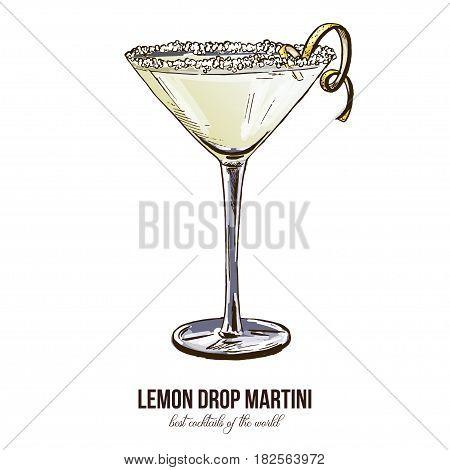 Lemon Drop Martini, vector illustration, hand drawn colored sketch