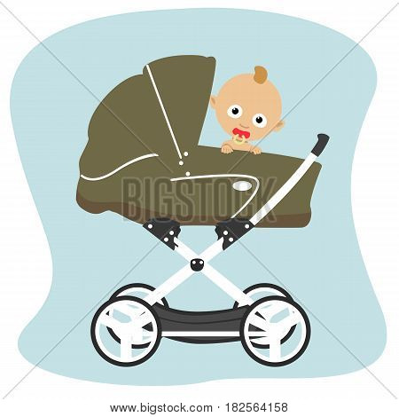 Cute baby peeks out from behindin a green stroller pram isolated