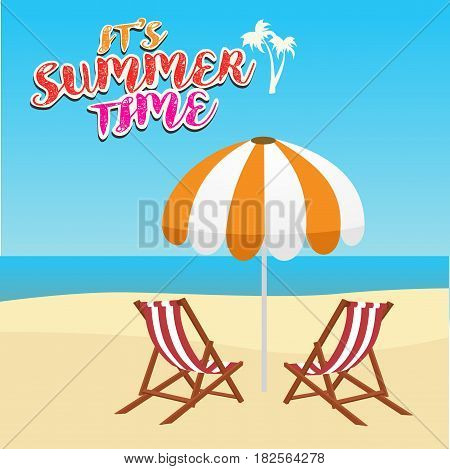 summer vacation, tourism, travel, holidays and people concept, deck chair and umbrella on the beach