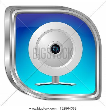 blue Button with Webcam - 3D illustration