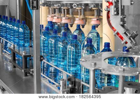 The line at the factory for the production of plastic bottles