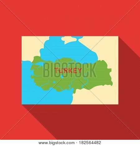 Territory of Turkey icon in flate style isolated on white background. Turkey symbol vector illustration.