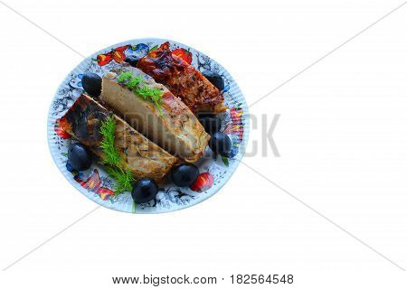Food, a dish of fish, baked on fire, dill, olives, insulated on white background